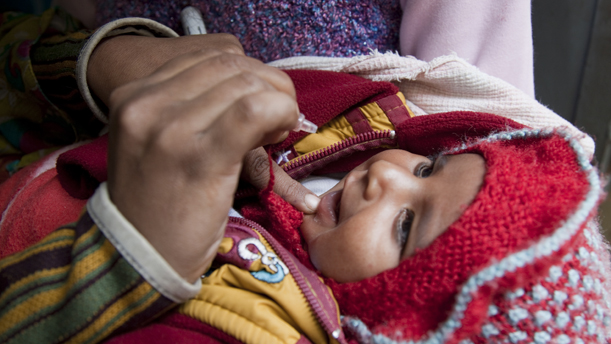 Child receives polio vaccine (photo courtesy of the Gates Foundation)